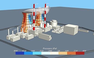 Моделирование обтекания и ветровой нагрузки на здания и сооружения ТЭЦ