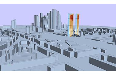 Моделирование ветровых нагрузок на комплекс высотных зданий