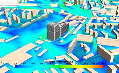 Определения ветровых нагрузок на Многофункциональный офисный комплекс