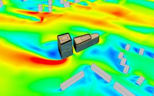 Расчет ветрового обтекания здания - поле скорости