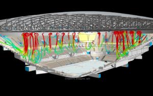 Моделирование воздушных потоков в ледовой арене - линии тока
