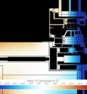 Распределение температуры в сечении через конструкцию стеклопакета