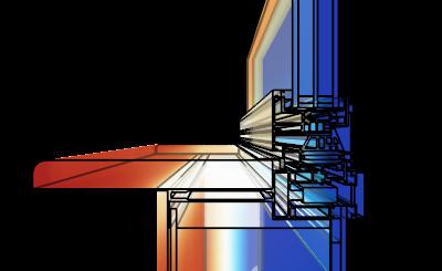 Распределение температуры на поверхности стеклопакета жилого здания